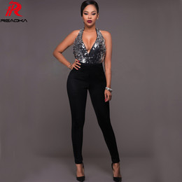 8055b0d1f70 Reaqka Summer Women Silver Sequins Jumpsuit Backless Elegant Sexy  Sleeveless Club Romper Long Playsuit Deep V Neck Overalls 2018