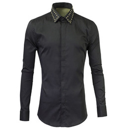 schwarze baumwolle hemd großhandel-Neue Herrenhemden Mode Design Metall Sticky Black Dress Shirts Casual Baumwolle Chemise Homme Slim Fit Button Down Shirt Männer