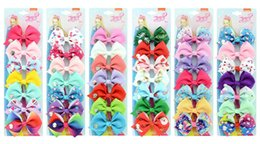 barrette cards NZ - 3.5 inchs JOJO bow suits 7 pcs Card Cute children's Barrettes hairpin baby headwear 6 Styles mixed
