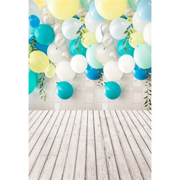 $enCountryForm.capitalKeyWord NZ - Printed Colorful Balloons Baby Kids Birthday Party Photo Booth Background Green Leaves Brick Wall Indoor Photography Backdrops Wood Floor