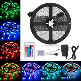 12v led lights connector online shopping - RGB LED Strip Light SMD leds m Flexible Waterproof IR Remote connector V A Power With Plug