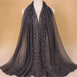 Linen scarves musLim online shopping - Fashion Cotton And Linen Scarf Solid Color Designer Brand Muslim Lady Hijabs Bead Scarves Popular Shawl aw Hh