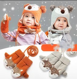 Knitting scarves for boys online shopping - 3Pcs set kids Fox Knitted hat Beanies Neck Warmers Hat Scarf Gloves For Boys Girls Kids Beanies Cap Scarf Glove KKA5986