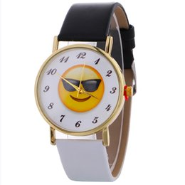Discount nice watch brands - 2017 New Arrival Emoji Lovers' Watches for Women men Top Brand Luxury PU Leather Quartz Watches Women Clock Nice Wr