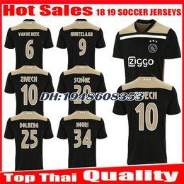 New 2018 2019 Ajax SOCCER JERSEY 18 19 DOLBERG Away ZIYECH KLAASSEN MILIK  HUNTELAAR NOURI Black Raw Gold jerseys uniforms Football Shirt fb435ca94