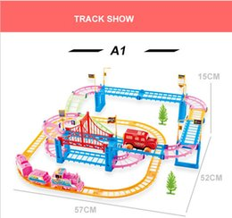 Discount plastic train track set - A1 New railway toys of qumitoys train track electric car Baby educational plastic toys intelligence toys