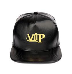 Discount dj hat - PU Leather Hip Hop Hats Golden VIP Logo DJ Raper Baseball Caps Men Women Hiphop Hats Snapback Caps Sports Casquette Belt