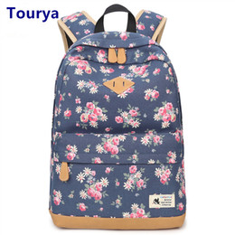 $enCountryForm.capitalKeyWord Canada - Tourya Vintage Canvas Women Backpack School Bags Schoolbag For Teenagers Girls Floral Printing Travel Laptop Bagpack Mochila Y18110201