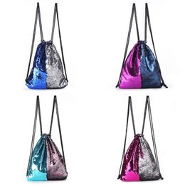 Backpacks Shops Canada - Mermaid Sequin Backpack Sequins Drawstring Shoulder Bags Reversible Paillette Outdoor Glitter Sports Designer Shopping Fun Pouch New 18bz ZZ