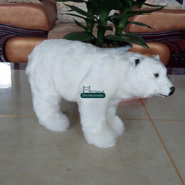 handicraft dolls 2019 - Dorimytrader mini cute simulation polar bear toy handicraft lovely Realistic white polar bear doll gift decoration 31x18