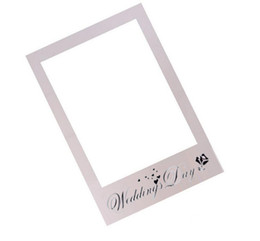 birthday party photo booth props UK - Frame Photo Booth Props Photography mask paper Card Wedding birthday Team bride Party Decoration gift white wedding day