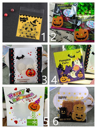 Biscuits pack online shopping - 100 Pack cm halloween trick or treat bags halloween bags Halloween party gift packaging self adhesive biscuits candy bag