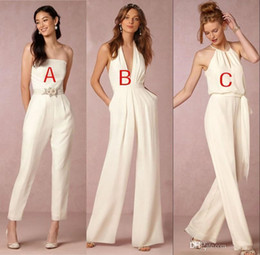 $enCountryForm.capitalKeyWord NZ - V Neck JumpSuit Long Bridesmaid Dresses 2018 Strapless Ruched Floor Length Long Maid of honor Wedding Guest Evening Gowns BA7444