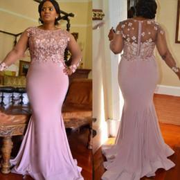 4920296f9 Lilás Cor Plus Size Vestidos De Dama De Honra Para O Casamento Apliques  Beads Sheer Mangas Compridas Sereia Maid Of Honor Vestidos Longo Prom  Vestido de ...