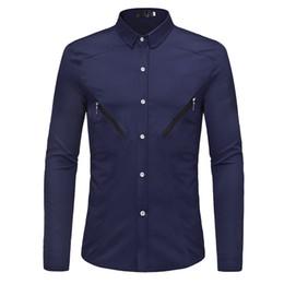 Double Shirt Designs Australia - Men Clothes 2018 New Unique Double Zipper Design Men's Loose Fashion Solid Color Shirt Casual Dress Business Long-sleeved Shirt