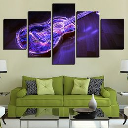 Guitar Spray NZ - Canvas HD Prints Poster Wall Art Framework 5 Pieces Abstract Noctilucan Guitar Paintings Living Room Modular Pictures Home Decor