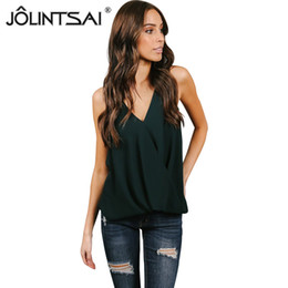womens red blouses Australia - JOLINTSAI 2018 New Women Chiffon Blouse Sexy Green Tank Womens Tops and Blouses Summer Sleeveless Vest Cami Shirt 4 Color