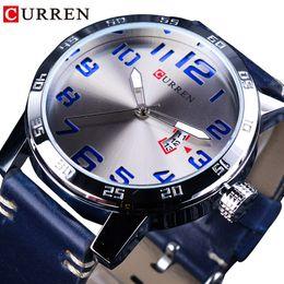 $enCountryForm.capitalKeyWord UK - CURREN Calendar Display Blue Genuine Leather Belt 3D Laser Dial Mens Quartz Watches Waterproof Top Brand Luxury Hour Male Clock