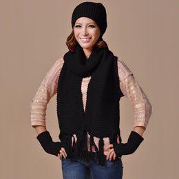$enCountryForm.capitalKeyWord NZ - Unisex Womens Mens Knitted Beanie Cap Warm Hat Scarf and Gloves Winter Set