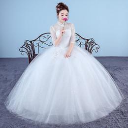 Ankle Length High Neck Wedding Dresses UK - Real Photo Wedding Dresses 2018 High Neck Korean Style Red Romantic Bride Princess Lace with Gold Embroidery Vestido De Novia