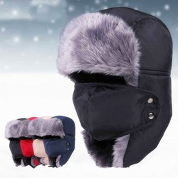 Discount camping hiking hats - Outdoor Winter Thickened Windproof Hiking Skiing Hats For Men Women Unisex Earflap Caps Keep Warm Russian Skull Mask Bom
