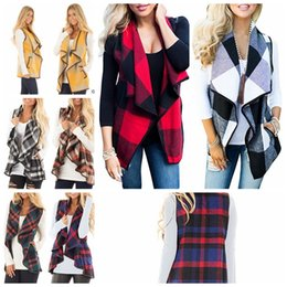 Suits Contrasting Lapels Australia - Women Plaid Vest Woolen Coat Keep Warm Cardigan Coat Sleeveless Jacket Loose Suit Jacket Lapel Autumn Waistcoat Warm Cloak KKA5793