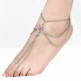$enCountryForm.capitalKeyWord UK - Blue Stone Anklet Bracelet 2018 New fashion Simple Retro Hollow Pattern Beaded Tassel Even Referring to Beach Anklets Female YMCJB031