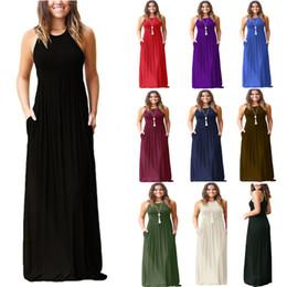 6578e3a04b Newest Women Sleeveless Racerback Loose Plain Maxi Dresses Casual Long  Dresses With Pockets Beach Dress Home Clothing WX9-664