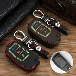 Key Shell For Ford Australia - For Ford Fiesta Focus 2 Ecosport Kuga Escape Car Flip Folding Remote key Case cover shell set 3 Buttons Luminous Leather