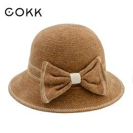 Discount blue felt hat - COKK Felt Hats For Women Autumn Winter Hat Female Fedora With Big Bow Foldable Wool Knitted Cap Chapeu Feminino Vintage