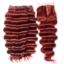 Chinese  Hot Sale Deep Wave Burgundy Hair 3 Bundles With Lace Closure Brazilian Virgin Human Hair Weaves Deep Wave Curly Lace Closure With Bundles manufacturers