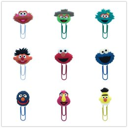 $enCountryForm.capitalKeyWord NZ - 18Pcs Paper Clip Sesame Street Souvenir Book Decor Bookmark Pencil Accessories Stationery Teacher Gift Cartoon Toys
