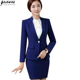 f2eea775b130 New fashion women skirt suit set Business interview formal long sleeve slim  blazer and skirt office ladies plus size work wear