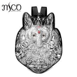 Wholesale Men Backpack Rivet D Fox vintage Gothic Carving Embossed Shoulder Bag Travel Backpack Restore Halloween Cool Leather laptop Bag