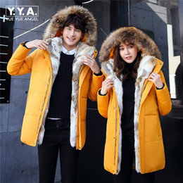 Womens Parkas Australia - Womens Mens Winter Jacket And Coats High Quality Thick Warm Hooded Rabbit Fur Collar Parkas Large Size S-5XL Yellow Black White