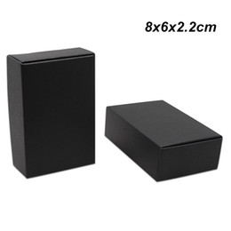 $enCountryForm.capitalKeyWord NZ - 50pcs Lot 8x6x2.2 cm Black Kraft Paper Packing Box for Jewelry Ornaments Accessory Craft Paper Cookies Boxes Chocolate Storage Packing Boxes