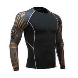 t shirt compression mma UK - Men Women Fitness Long Sleeve Cycling Base Layers Men Bodybuilding Skin Tight Thermal Compression Shirts MMA Workout T shirt