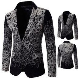 Wholesale Embroidered suit man gray blazer fashion slim jacket singer dancer dress performance show nightclub costumes fishion blazer show