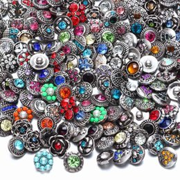 Wholesale Royalbeier New Mixed Rhinestone Styles Metal Charms mm Snap Button Jewelry For Snaps Bracelet DIY Snap Jewelry