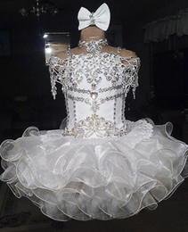 White lace beaded halter short sleeve bow organza ball gown cupcake toddler little girls pageant dresses flower girls for weddings glitz on Sale