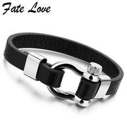 42358bcc0949 Joyería de moda Pulsera de cuero de los hombres de acero inoxidable marca para  hombre accesorios de joyería hecho a mano negro pulseras brazaletes Pulseras