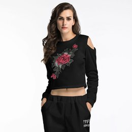 White Rose Pullover Australia - Rose Embroidered Applique Sweatshirt 2018 Autumn White and Black Women O Neck Pullovers Long Sleeve Casual Vintage Ladies Sweatshirt