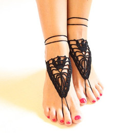 Wholesale Crochet white barefoot sandals Nude shoes Foot jewelry Beach wear Yoga shoes Bridal anklet bridal beach accessories white lace sandals F004