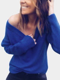 6ff539256 Wholesale New Style Deep V Neck Backless Knitted Women Cardigan Long  Sleeved Bottoming Designer Sweater Sexy Pure Color Women Sweaters