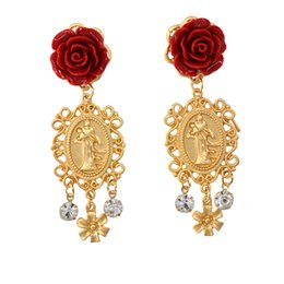 China Fashion Women Vintage Rhinestone Baroque Style Luxury Crystal Elegant Flowers Exaggerated Long Dangle Jewelry Earrings cheap vintage mother pearl suppliers