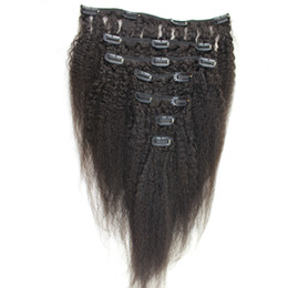 Clip Hair Black Australia - 8 Pieces And 120g Coarse Yaki Machine Made Remy Kinky straight Clip In Human Hair Extensions 100% Human Hair Natural Black