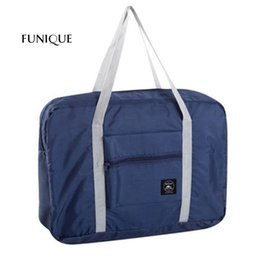 Discount travel pouches for clothes - FUNIQUE 2017 Folding Travel Storage Bag Trolley Bag Large Pouch Strap Clothes Luggage Storage package For Family