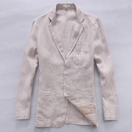 Men White Linen Casual Suits Australia - New style British trend linen jacket men casual suit flax brand clothing business suits men fashion blazer