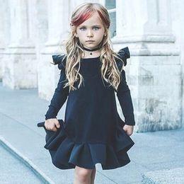 $enCountryForm.capitalKeyWord Australia - Autumn Baby Girls Fashion Flying Sleeve Dresses 2018 New kids Dark Blue Pleated Princess Dress Children Boutique Clothing Free Shipping