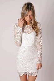 $enCountryForm.capitalKeyWord Australia - robe de cocktail Cheap dress sashes short mini prom dresses elegant Long Sleeve white Lace Cocktail Party dresses 2018 vestidos